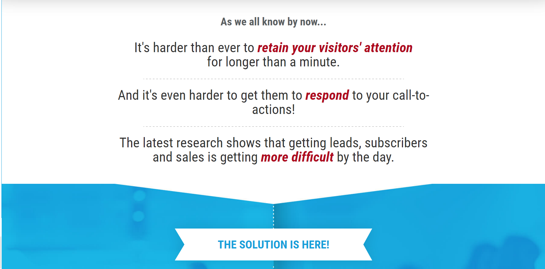 Retain your visitor's attention